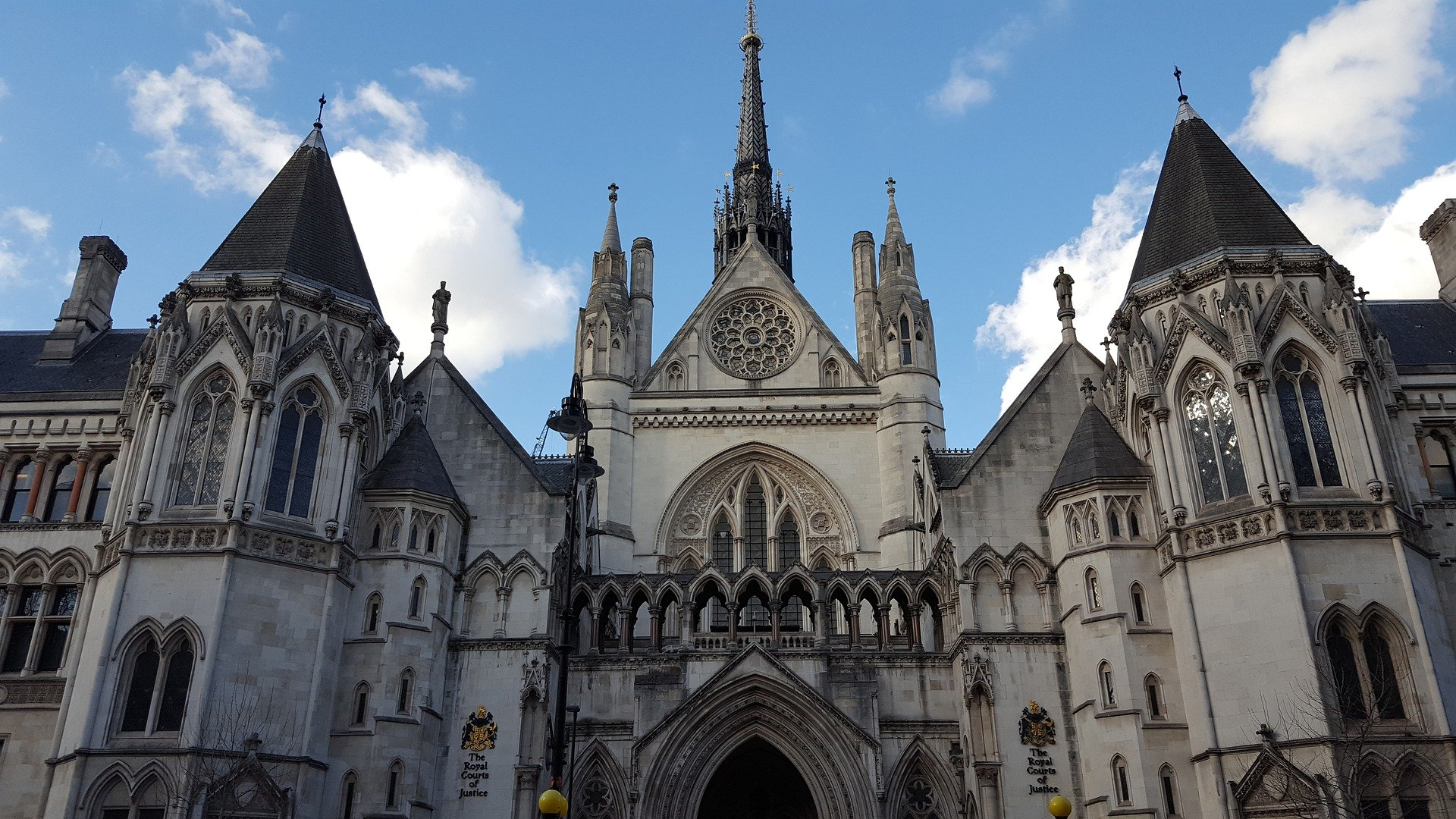 Front on view of The Royal Courts of Justice in London