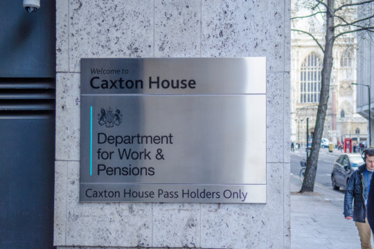 Sign at the DWP offices in London